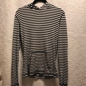 J.Crew Navy/White Striped Hoodie Size Small
